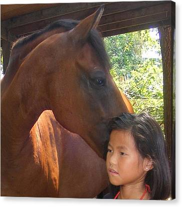 Horses And Children Canvas Print by Rene Trebing