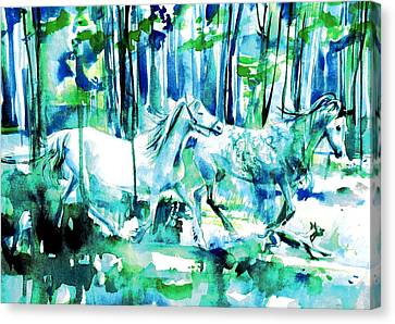 Horses And Dog Canvas Print by Fabrizio Cassetta