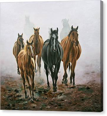 Horses And Dust Canvas Print