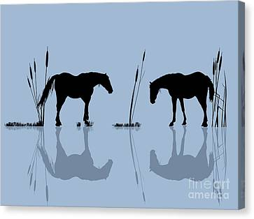Horses At The Water Canvas Print by Richard Laschon