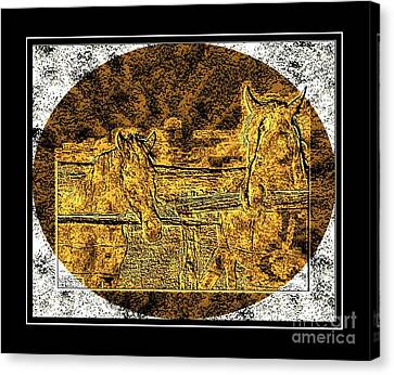 Horses -  Brass Etching Canvas Print