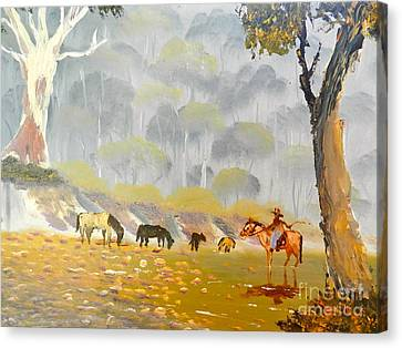 Horses Drinking In The Early Morning Mist Canvas Print