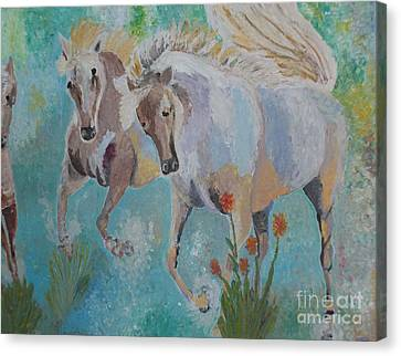 Canvas Print featuring the painting Horses From Camargue 2 by Vicky Tarcau