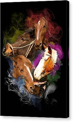 Canvas Print featuring the digital art Horses Gone Wild by Davina Washington