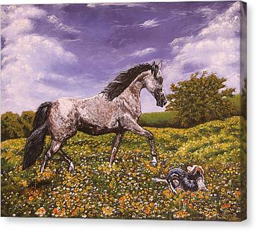 Horses Horse Paintings Making Strides Canvas Print by Robert Lafaye