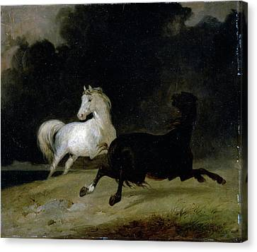 Running Horses Canvas Print - Horses In A Thunderstorm, Thomas Woodward by Litz Collection
