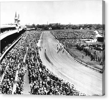 Horses In Action At Vintage Churchill Downs Race Canvas Print