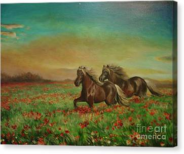 Canvas Print featuring the painting Horses In The Field With Poppies by Sorin Apostolescu