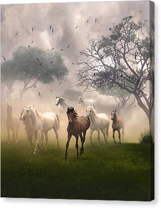 Canvas Print featuring the digital art Horses In The Mist by Nina Bradica