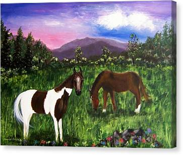 Canvas Print featuring the painting Horses by Jamie Frier