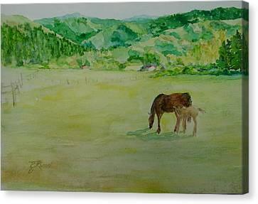 Horses Mare Foal Pastures Rural Landscape Original Art Oregon Western Artist K. Joann Russell Canvas Print
