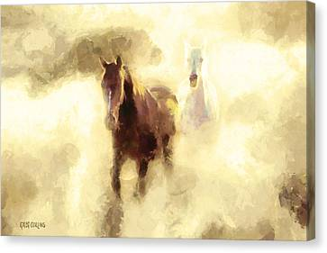 Horses Of The Mist Canvas Print by Greg Collins