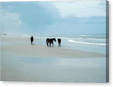 Canvas Print featuring the digital art Horses Of The Obx by Kelvin Booker