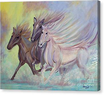 Horses Of The Sea Canvas Print by Stacey Zimmerman