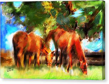 Canvas Print featuring the painting Horses On A Kentucky Farm by Ted Azriel