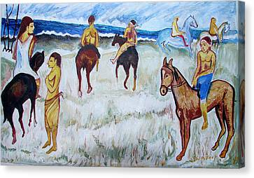 Canvas Print featuring the painting Horses On Beach by Anand Swaroop Manchiraju