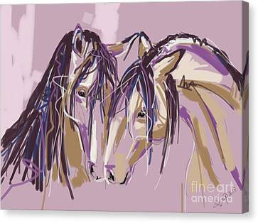 horses Purple pair Canvas Print by Go Van Kampen