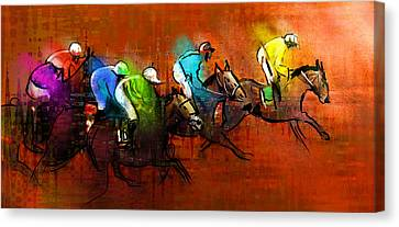 Horses Racing 01 Canvas Print by Miki De Goodaboom