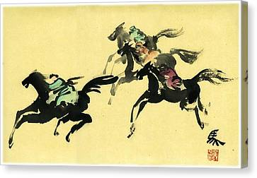 Canvas Print featuring the painting Horse Racing by Ping Yan