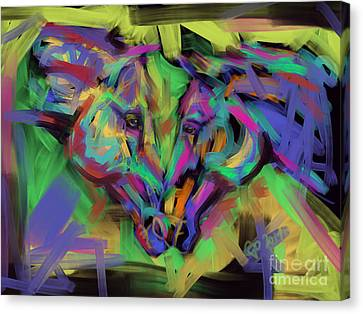 Horses Together In Colour Canvas Print by Go Van Kampen