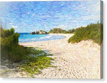 Canvas Print featuring the photograph Horseshoe Bay In Bermuda by Verena Matthew