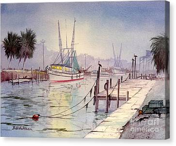 Speckled Trout Canvas Print - Horseshoe Beach Lights At Sunset by Bill Holkham
