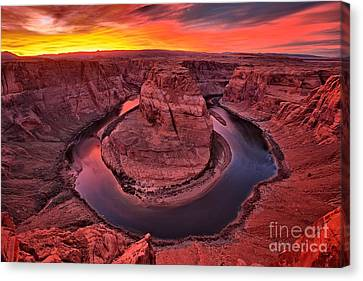 Horseshoe Bend Sunset Canvas Print by Adam Jewell