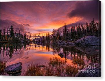 Horseshoe Lake Infinity Sunrise Canvas Print by Mike Reid