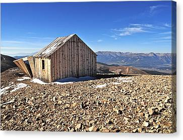 Horseshoe Mountain Mining Shack Canvas Print by Aaron Spong