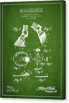 Horseshoe Patent From 1899 - Green Canvas Print by Aged Pixel