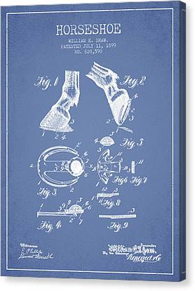 Horseshoe Patent From 1899 - Light Blue Canvas Print by Aged Pixel
