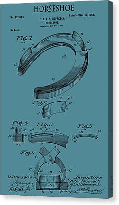 Horseshoe Patent On Blue Canvas Print by Dan Sproul