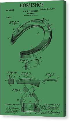 Horseshoe Patent On Green Canvas Print by Dan Sproul