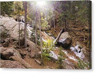 Horsethief Falls Sunburst - Cripple Creek Colorado Canvas Print