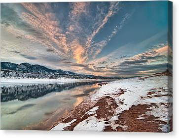 Fort Collins Canvas Print - Horsetooth Sunset Hdr by Preston Broadfoot