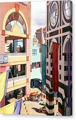 Shopping Canvas Print - Horton Plaza San Diego by Mary Helmreich