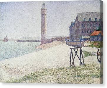 Hospice And Lighthouse At Honfleur Canvas Print by Georges Seurat