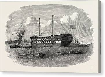 Hospital Ship Near The Seraglio At Constantinople Istanbul Canvas Print by English School