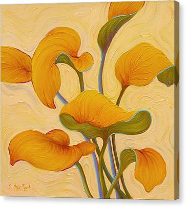 Canvas Print featuring the painting Hosta Hoofin' by Sandi Whetzel