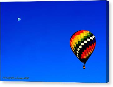 Hot Air Ballon To The Moon Canvas Print by Rebecca Adams