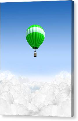 Hot Air Balloon Above The Clouds Canvas Print