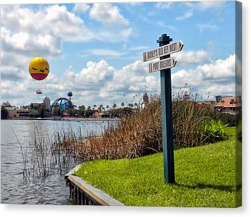 Hot Air Balloon And Old Key West Port Orleans Signage Disney World Canvas Print by Thomas Woolworth