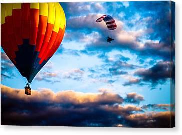 Hot Air Balloon And Powered Parachute Canvas Print by Bob Orsillo