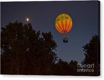 Hot Air Balloon At Night  Canvas Print by Amy Lucid