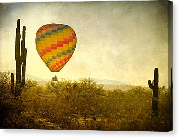 Hot Air Balloon Flight Over The Southwest Desert Fine Art Print  Canvas Print by James BO  Insogna