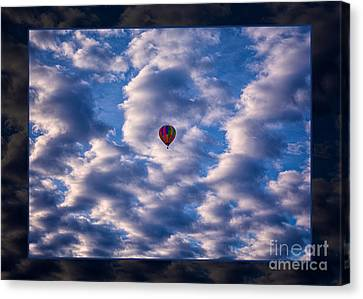 Hot Air Balloon In A Cloudy Sky Abstract Photograph Canvas Print by Omaste Witkowski