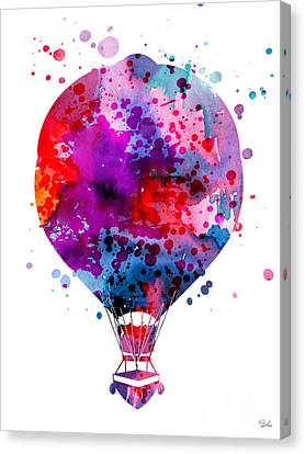 Hot Air Balloon Canvas Print by Watercolor Girl
