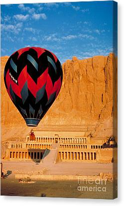 Hatchepsut Canvas Print - Hot Air Balloon Over Thebes Temple by John G Ross