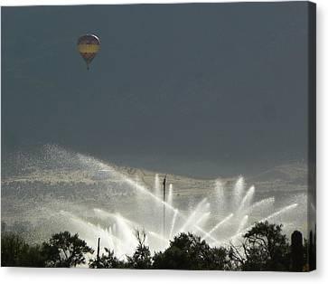 Hot Air Balloon Over Utah Farm Canvas Print
