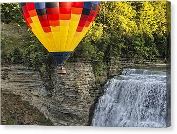 Hot Air Ballooning Over The Middle Falls At Letchworth State Par Canvas Print